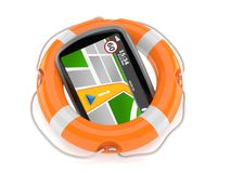 GPS navigation with life buoy Stock Photography