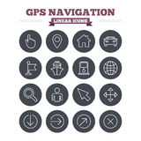 GPS navigation linear icons set. Thin outline Royalty Free Stock Photos
