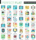 Gps navigation location vector complex flat icon concept symbols for web infographic design. Gps navigation location vector complex flat icon concept symbols Stock Photo