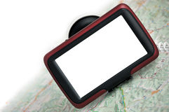 GPS navigation with map. GPS navigation with blank screen  on the map. Blank screen for adress, visiting, call or business card etc Royalty Free Stock Image
