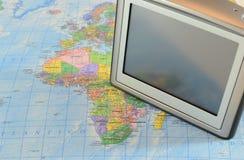 Gps navigation on map. Gps car navigation system on a map stock images