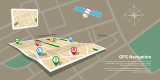 Gps navigation map. Flat style design of web banner template for website or infographics, mobile navigation GPS system, destination location, spotting and find Stock Image