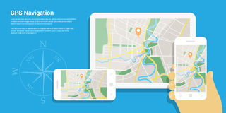 Gps navigation map Royalty Free Stock Image