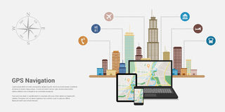 Gps navigation map. Flat style design of web banner template for website or infographics, mobile navigation GPS system, destination location, spotting and find Stock Photos