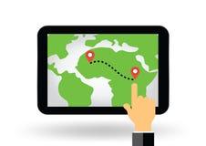 Gps navigation map on tablet display illustration Royalty Free Stock Photography