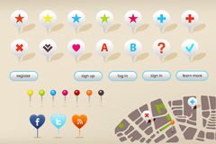 GPS Navigation Markers And Web Elements. Vector Stock Images