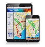 GPS navigation on mobile devices Stock Image