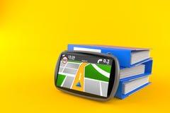 GPS navigation with ring binders. On orange background Stock Image