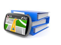 GPS navigation with ring binders Stock Photography