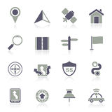 Gps, navigation and road icons Royalty Free Stock Photography