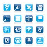 Gps, navigation and road icons Royalty Free Stock Images