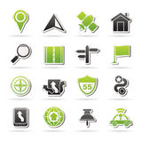 Gps, navigation and road icons Stock Image