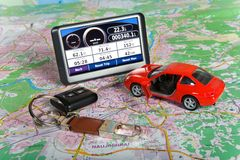 GPS Navigation system. On a  map. Car form is changed Royalty Free Stock Photos