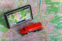 GPS Navigation system. On a map. Car form is changed stock photography