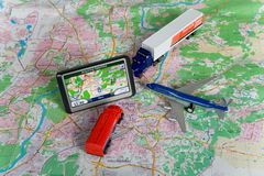 GPS Navigation system. On a  map. Car form is changed Stock Images