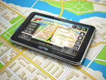 GPS navigation system on the city map. Royalty Free Stock Photos