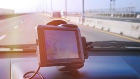Small GPS Navigation System Inside the Car. GPS Navigation System Inside the Car Royalty Free Stock Image
