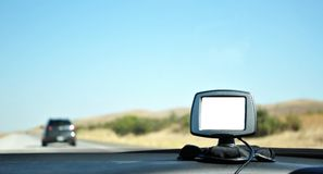 GPS Navigation System on the Road Stock Photo