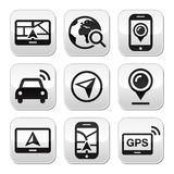 GPS, navigation travel  buttons set Stock Images