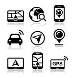 GPS, navigation travel  icons set. Modern black icons set with reflection - navigate road, map concept Royalty Free Stock Images