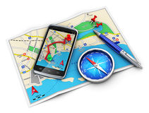 GPS navigation, travel and tourism concept. Mobile GPS navigation, travel and tourism concept: modern black glossy touchscreen smartphone with GPS navigation Royalty Free Stock Images