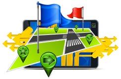 Gps-Navigation u. Pfeil Stockbild