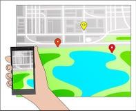 Gps-Navigation und -karte mit Ikone Stockbilder