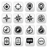 GPS navigation, wind rose, compass buttons set Stock Photos