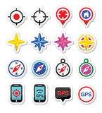 GPS navigation, wind rose, compass icons set Royalty Free Stock Images