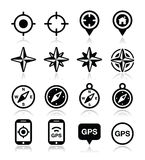 GPS navigation, wind rose, compass icons set Stock Image