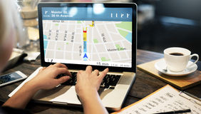 GPS-Navigations-Richtungs-Standort-Karten-Konzept lizenzfreie stockfotografie