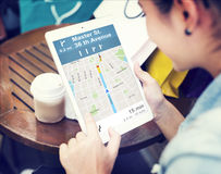 GPS-Navigations-Richtungs-Standort-Karten-Konzept lizenzfreie stockfotos