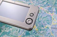GPS navigator 1. GPS navigator on the map Royalty Free Stock Photography