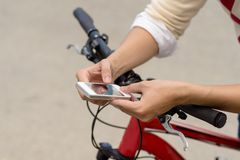 GPS navigator. Close-up of man using GPS navigator in his phone Stock Photography
