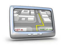 GPS navigator en 3D kaart Royalty-vrije Stock Afbeelding