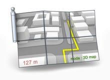 GPS navigator en 3D kaart Royalty-vrije Stock Fotografie