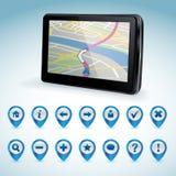GPS navigator en reeks GPS pictogrammen Stock Foto's