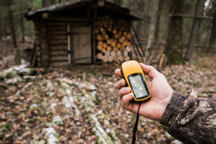 GPS navigator in the forest Royalty Free Stock Image