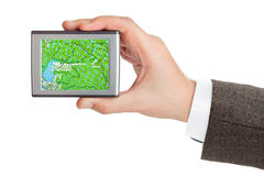 GPS navigator in hand Royalty Free Stock Photos