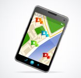 Gps navigator interface and city map Royalty Free Stock Photo