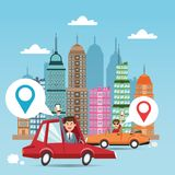 Gps navigator and location design. Cartoon man cars city and smartphone. Gps navigator location travel and route heme. Colorful design. Vector illustration Royalty Free Stock Photos