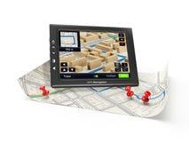 GPS navigator and map Royalty Free Stock Photos