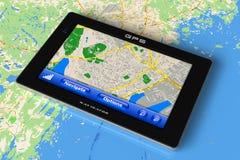 GPS navigator op kaart Royalty-vrije Stock Foto