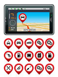 GPS navigator with the pointer autoservice. Royalty Free Stock Photo