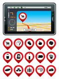 GPS navigator with the pointer supermarket. Royalty Free Stock Photos