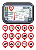 GPS navigator with the pointer supermarket. Stock Images