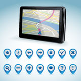 GPS navigator and set of GPS icons Stock Photos