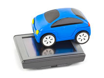 GPS navigator and toy car Royalty Free Stock Image