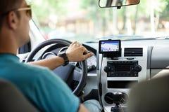 GPS navigering i bil Arkivbilder