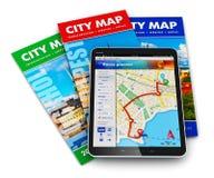 Gps-navigering, lopp och turismbegrepp Royaltyfri Foto